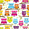 Seamless and tileable vector owl background pattern with leaves branches Stock Photos