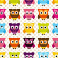 Seamless and tileable vector owl background pattern with polka dots Royalty Free Stock Photography