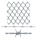 Seamless tiling fence and barbed wire Stock Photos
