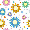 Seamless tiling flower and dot texture Stock Images