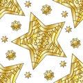 Seamless tiling golden star pattern