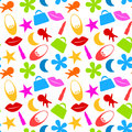 Seamless toy girl icons pattern colored includes doll flower ballerina shoe lips lipstick purse and stars Stock Image