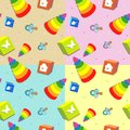 Seamless toy pattern with toys on different backgrounds Royalty Free Stock Image