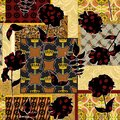 Seamless Traditional, Ethnic, Oriental pattern with monochrome flowers. Geometric shapes. Golden crown accessories. - illustration