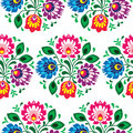 Seamless traditional floral pattern from poland repetitive colorful on black background polish folk art print wzory lowickie Royalty Free Stock Image