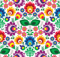 Seamless traditional floral polish pattern ethnic background repetitive colorful folk art Stock Photography