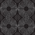 Seamless traditional geometric pattern. black and white.