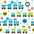 Seamless train with dino and leo pattern vector illustration