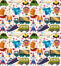 Seamless transport pattern cartoon vector illustration Royalty Free Stock Photo