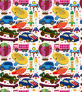 Seamless transport pattern cartoon vector illustration Stock Image