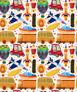 Seamless transport pattern cartoon vector illustration Royalty Free Stock Images