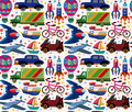 Seamless transport pattern cartoon vector illustration Royalty Free Stock Image