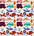 Seamless transport pattern cartoon vector illustration Stock Photo
