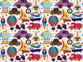 Seamless transport pattern cartoon vector illustration Royalty Free Stock Photos