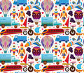 Seamless transport pattern cartoon vector illustration Stock Images