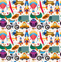 Seamless transport pattern cartoon vector illustration Stock Photos