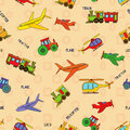 Seamless transport technique pattern with locomotive airliner airplane helicopter train tractor and their titles background can be Stock Images
