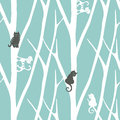Seamless trendy pattern with trees and cats. Floral vintage wallpaper. Fanny vector illustration Royalty Free Stock Photo