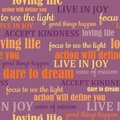 Seamless trendy typography vector pattern with colorful words related to heartfulness