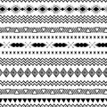 Seamless tribal ethnic pattern Aztec abstract background Mexican ornamental texture in black white color vector Royalty Free Stock Photo