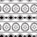 Seamless tribal ethnic pattern Aztec boho background Mexican ornamental texture in black white color vector Royalty Free Stock Photo