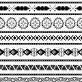 Seamless tribal ethnic pattern Aztec geometric background Mexican ornamental texture in black white color vector Royalty Free Stock Photo