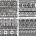 Seamless tribal texture black and white Royalty Free Stock Photos
