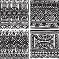 Seamless tribal texture in black and white Stock Photography