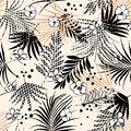 Seamless tropical floral pattern with flower and houndstooth fill-in leaves. Vector black and white illustration