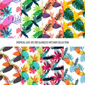 Seamless Tropical Leaves Floral Vector Pattern Background Wallpaper Design Royalty Free Stock Photo