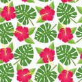 Seamless tropical leaves and flowers - monstera and hibiscus