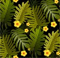 Seamless tropical pattern with palm leaves for fabric design or