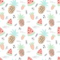 Seamless tropical pattern with pineapple, watermelon, strawberry. Vector summer illustration of a flamingo for kids, textiles,