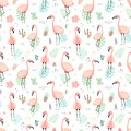 Seamless tropical pattern with pink flamingos and leaves, cacti, fruit, flowers. Vector summer hand-drawn illustration of a