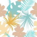 stock image of  Seamless tropical pattern with wild flowers, herbs and leaves. Pastel texture for floral design with plants