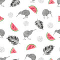 Seamless tropical trendy pattern with watercolor kiwi birds, watermelon slices and palm leaves