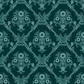Seamless turquoise damask Wallpaper with bouquet of Flowers. Royalty Free Stock Photo