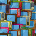Seamless tv pattern television sets retro style Stock Photo