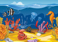 Seamless underwater landscape in cartoon style. Vector illustration Royalty Free Stock Photo