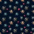 Seamless underwater pattern with cute octopuses Vector cartoon illustration