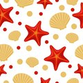 Seamless underwater sea pattern with starfish and shell. Abstract repeat background, colorful vector illustration can be used as