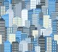 Seamless urban landscape. Vector illustration. City background