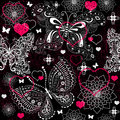 Seamless valentine lacy pattern floral with butterflies vector Royalty Free Stock Photos