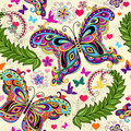 Seamless valentine pattern colorful vintage butterflies flowers hearts vector Royalty Free Stock Images