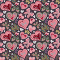 Seamless valentine pattern with colorful vintage pink and brown butterflies, flowers, hearts on black background. Vector. Royalty Free Stock Photo