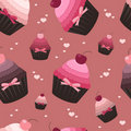 Seamless valentine pattern with cupcakes Royalty Free Stock Images