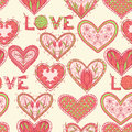 Seamless valentine pattern with hand drawn ornate hearts Stock Photo