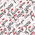 Seamless valentine pattern seamlessly wallpaper with hearts and superscription i love you Stock Photos
