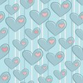 Seamless valentines day pattern with hearts attached patches Royalty Free Stock Images