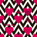 Seamless valentines day pattern with hearts and text on zig zag
